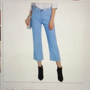 Rag& bone powder blue straight denim jeans cropped